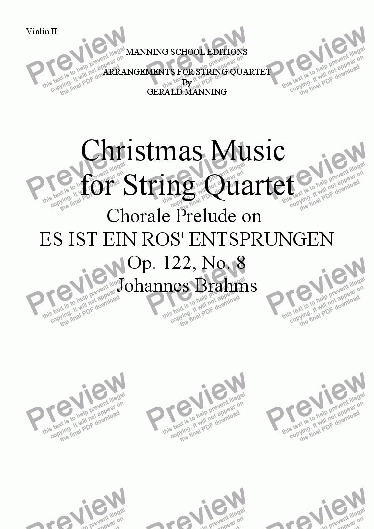 page one of the Violin II part from Christmas Music for String Quartet: Brahms, J. - Es Ist Ein Ros' Entsprungen - arr. by Gerald Manning