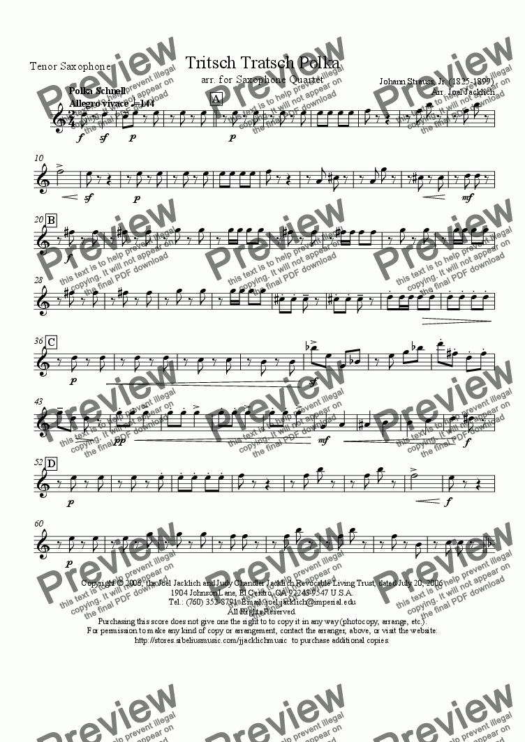 page one of the Tenor Saxophone part from Tritsch Tratsch Polka (Sax Quartet)