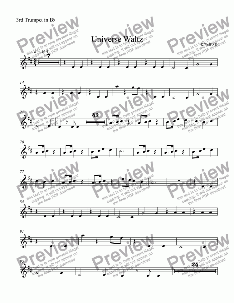 page one of the 3rd Trumpet in B^b part from Universe Waltz
