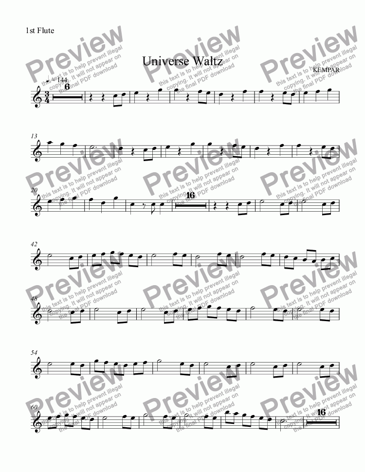 page one of the 1st Flute part from Universe Waltz