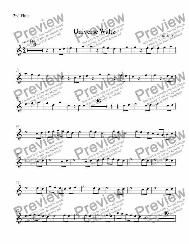 page one of the 2nd Flute part from Universe Waltz