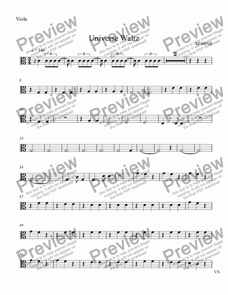 page one of the Viola part from Universe Waltz