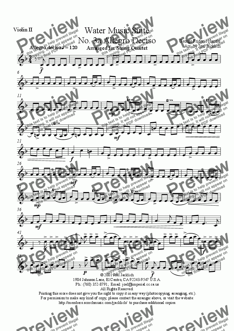 page one of the Violin II part from Water Music Suite, No. 3a, Allegro Deciso (F)