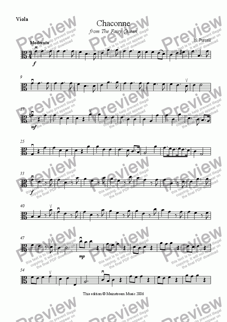 page one of the Viola part from Chaconne from The Fairy Queen