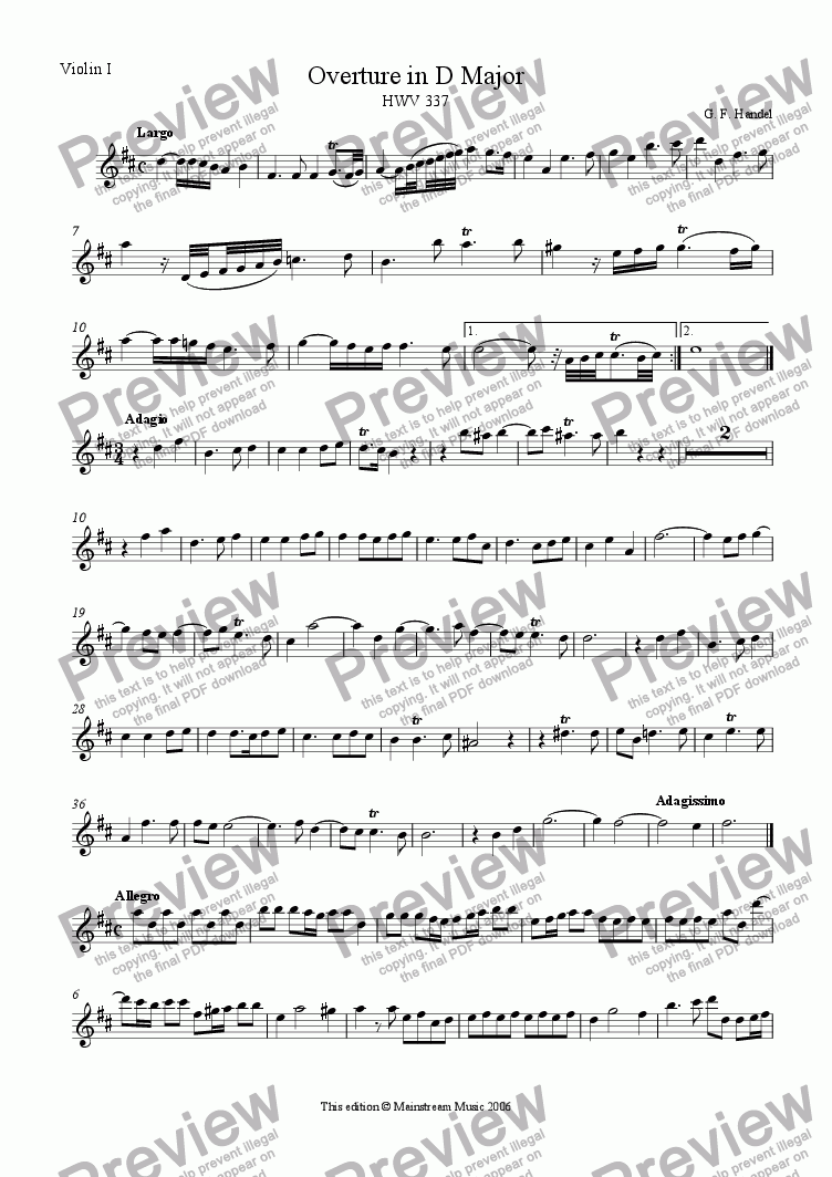 page one of the Violin 1 part from Overture in D Major HWV 337