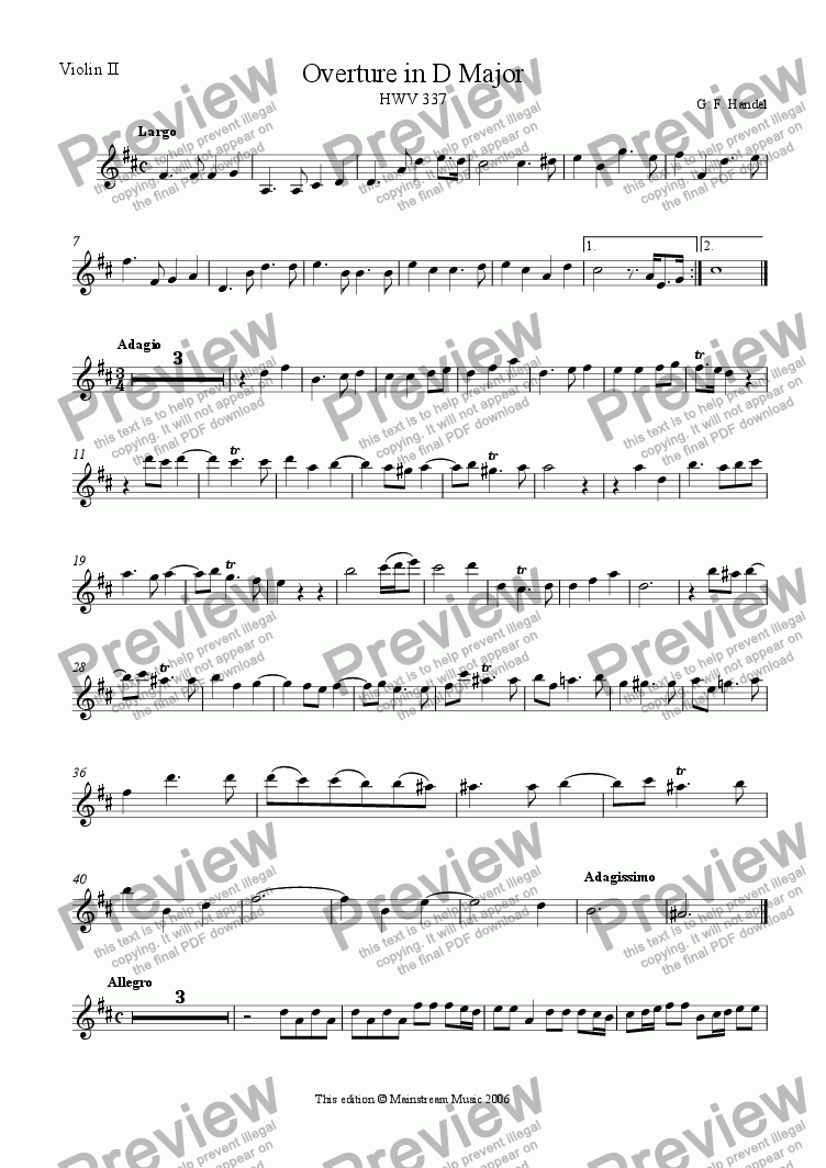 page one of the Violin 2 part from Overture in D Major HWV 337