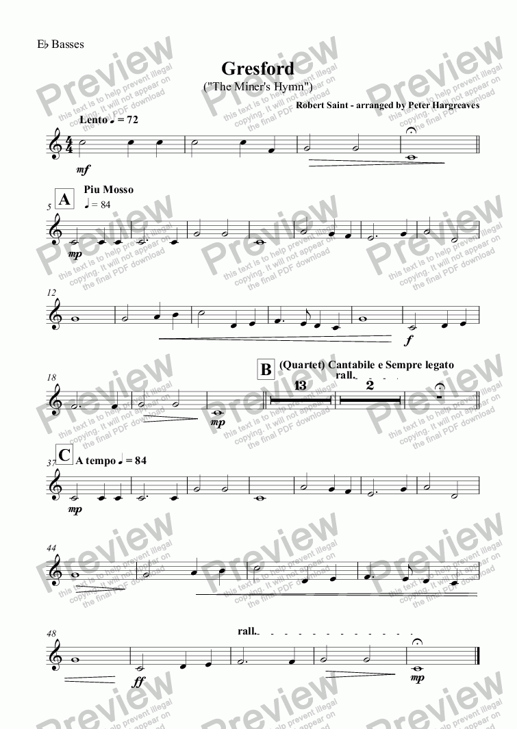 page one of the E^b Basses part from Gresford