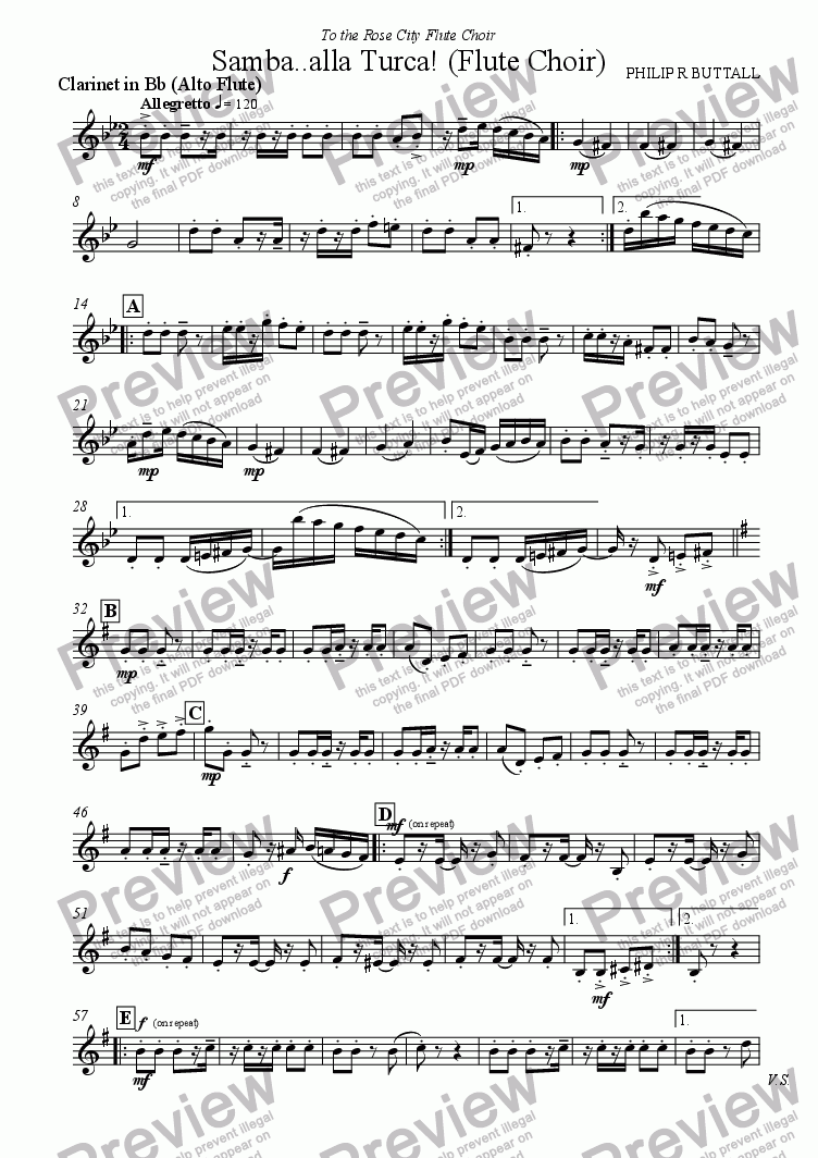 page one of the Clarinet in Bb (Alto Flute) part from Samba..alla Turca! (Flute Choir)