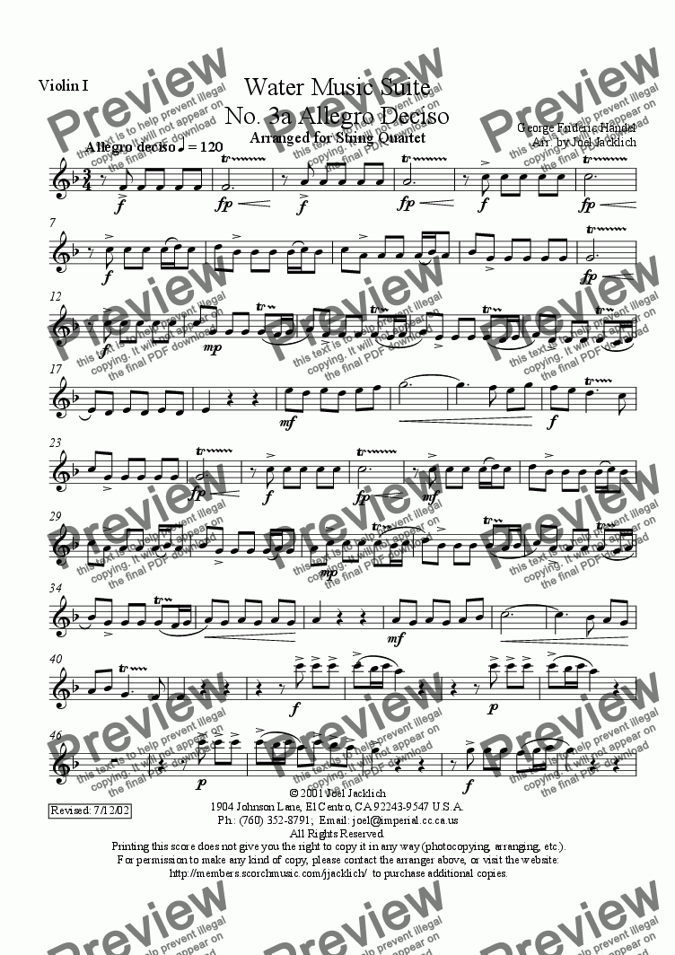 page one of the Violin I part from Water Music Suite, No. 3a, Allegro Deciso (F)