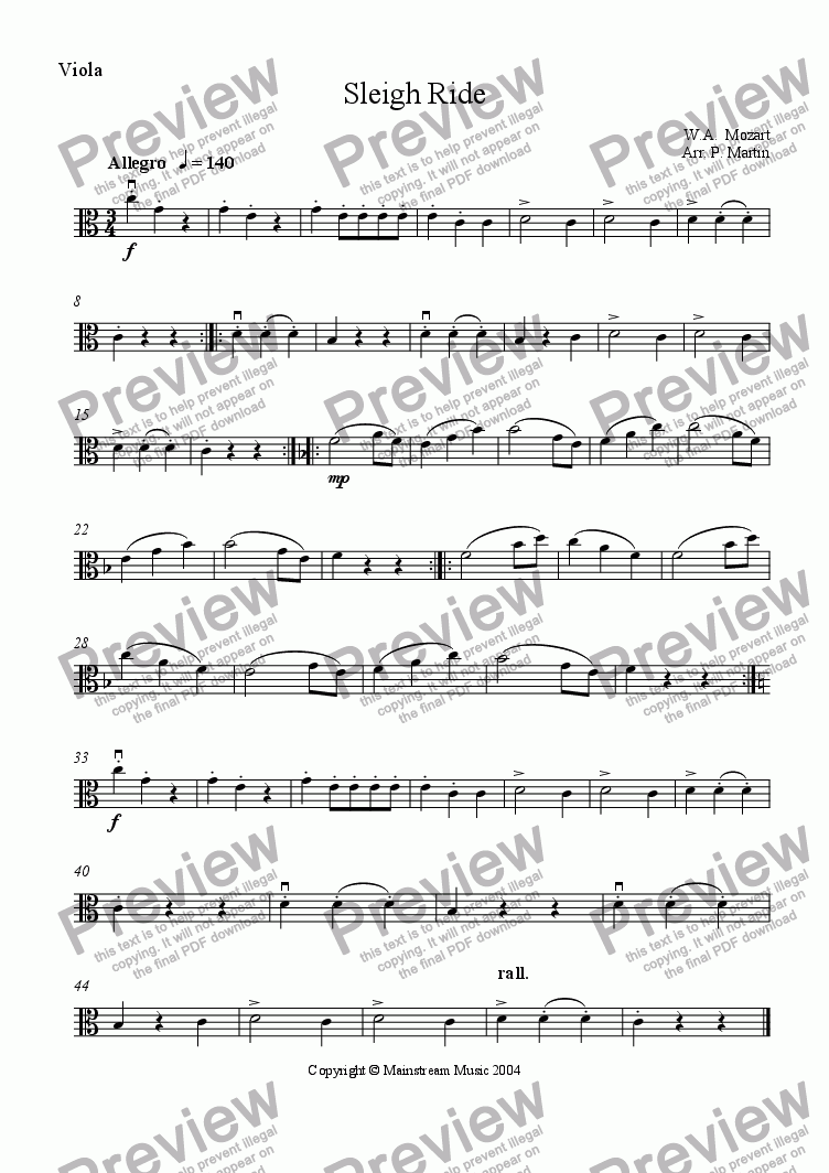 page one of the Viola part from Sleighride - Mozart