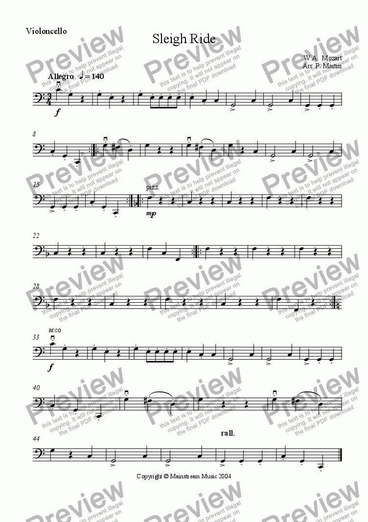 page one of the Cello part from Sleighride - Mozart
