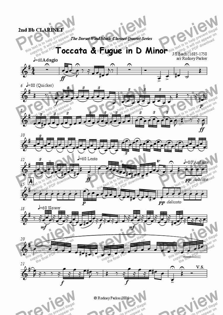 page one of the 2nd Bb Clarinet part from Toccata & Fugue in D Minor arr for Clarinet Quartet