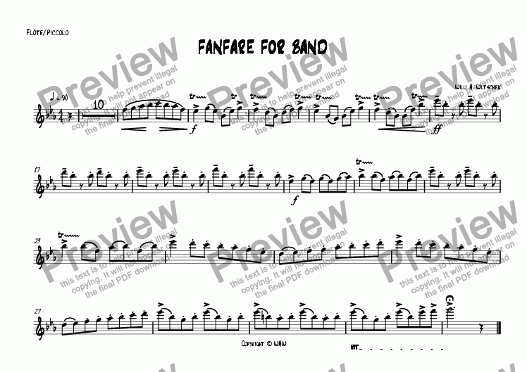 page one of the Flute/Piccolo part from FANFARE FOR BAND