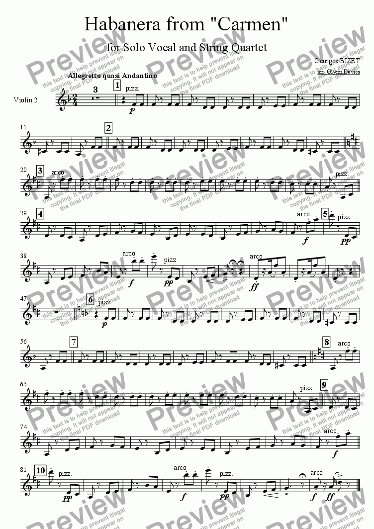 "page one of the Violin 2 part from Habanera from ""Carmen"""