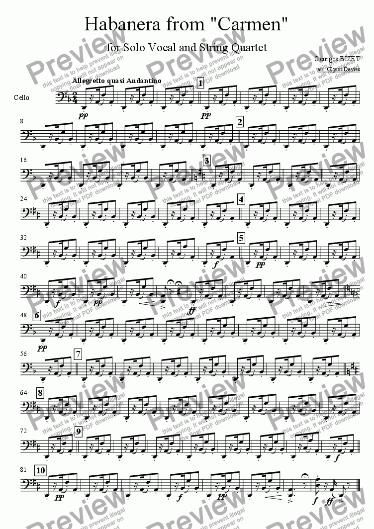 "page one of the Cello part from Habanera from ""Carmen"""