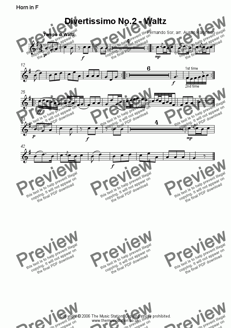 page one of the Horn part from Divertissimo No.2 (Waltz) - brass quintet