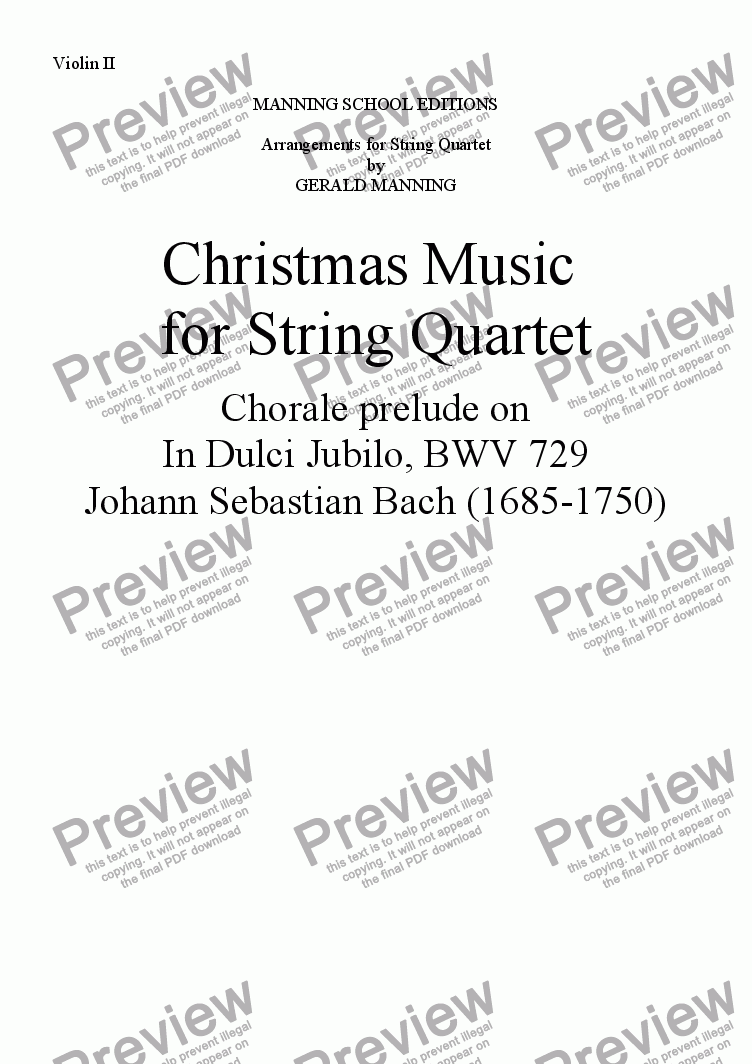 page one of the Violin II part from Christmas Music for String Quartet: Bach, J.S.- Chorale prelude on In Dulci Jubilo, BWV 729 - arr. by Gerald Manning