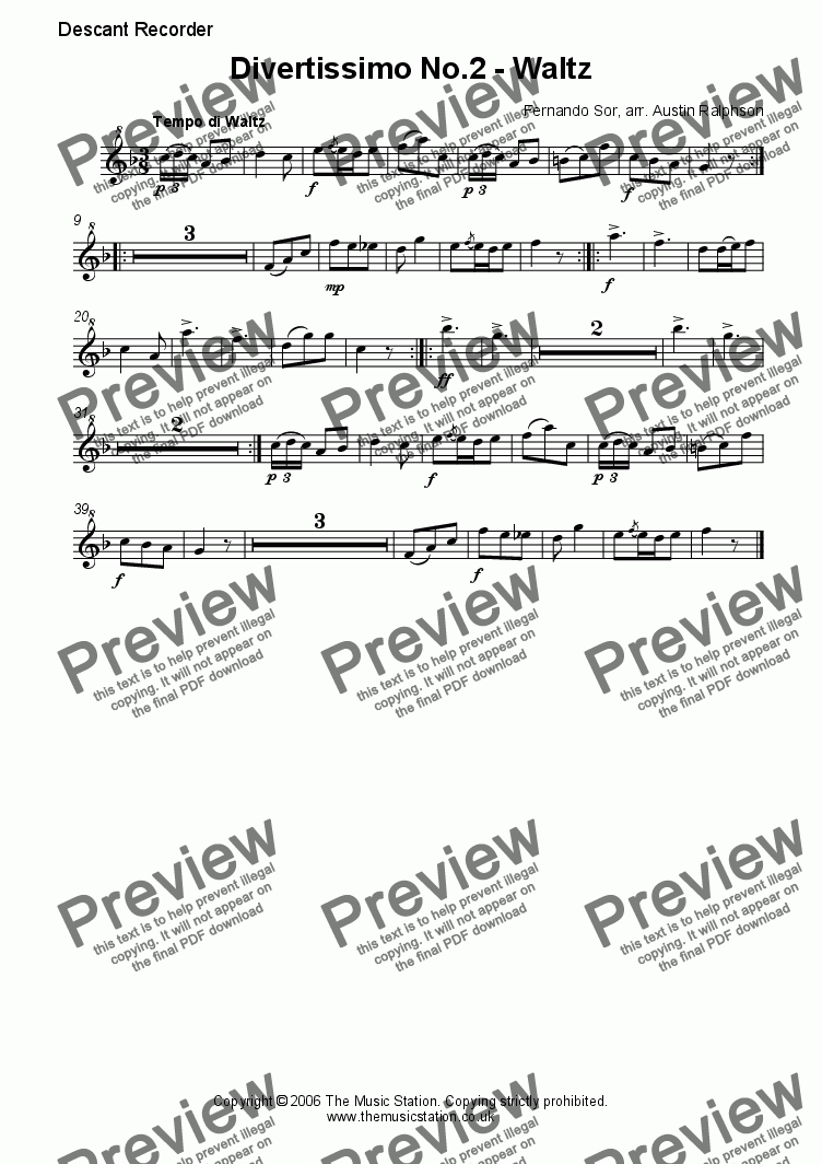 page one of the Descant part from Divertissimo No.2 (Waltz) - recorder quartet