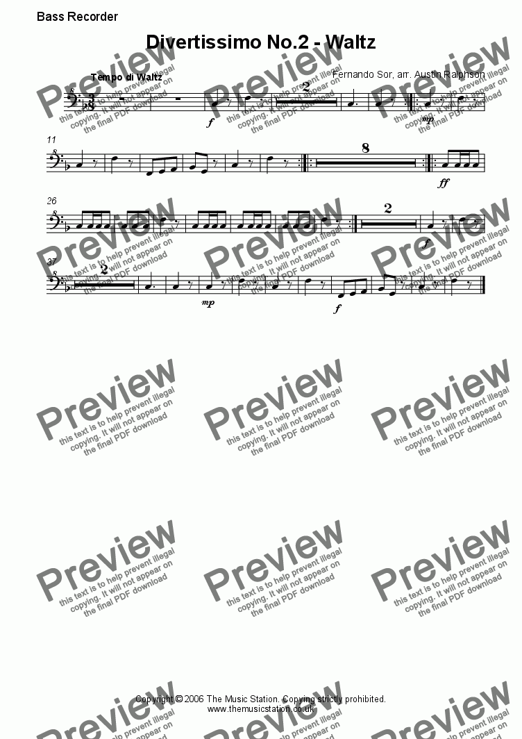 page one of the Bass part from Divertissimo No.2 (Waltz) - recorder quartet