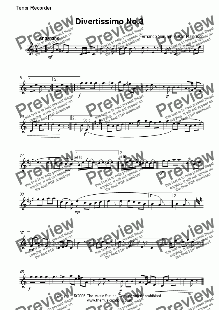 page one of the Tenor part from Divertissimo No.3 (Andantino) - recorder quartet