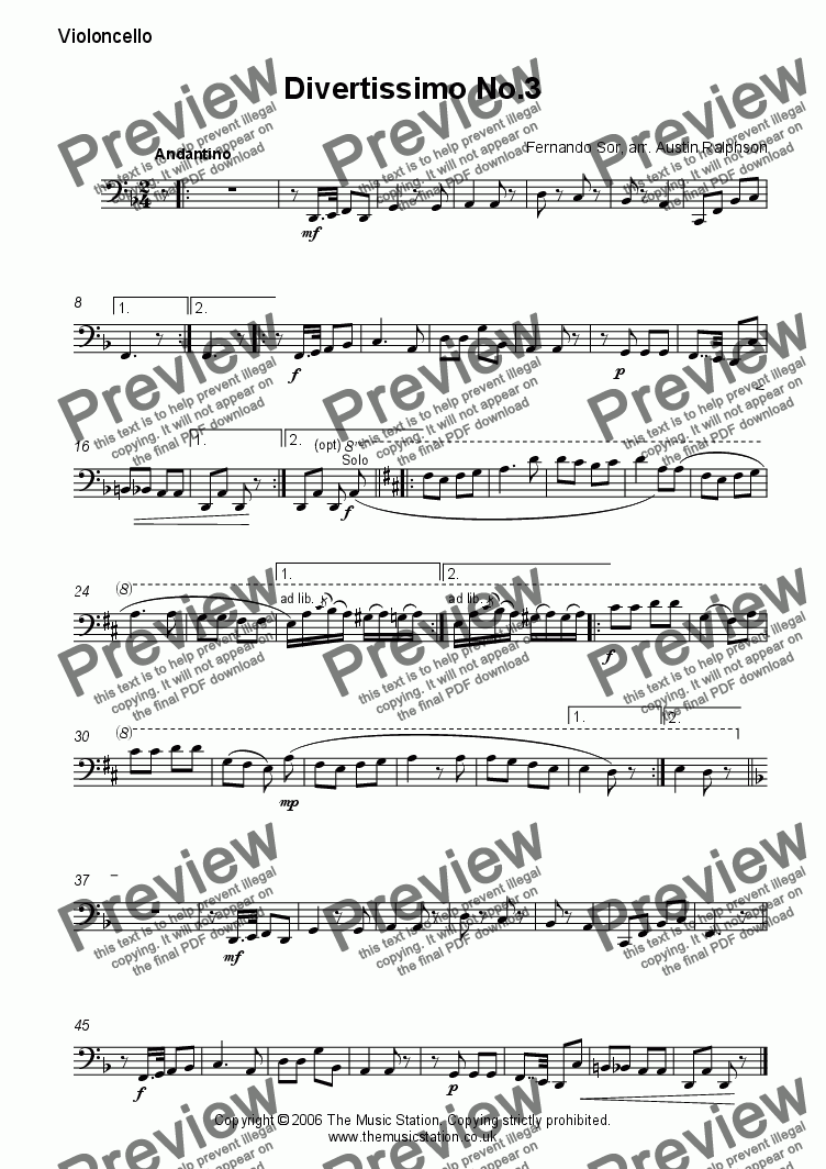 page one of the Cello part from Divertissimo No.3 (Andantino) - string quartet