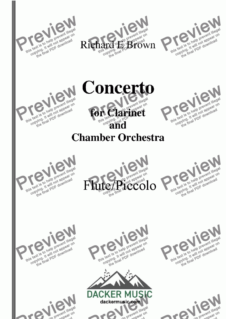 page one of the Flute - Piccolo part from Concerto for Clarinet  and Chamber Orchestra - Full Score