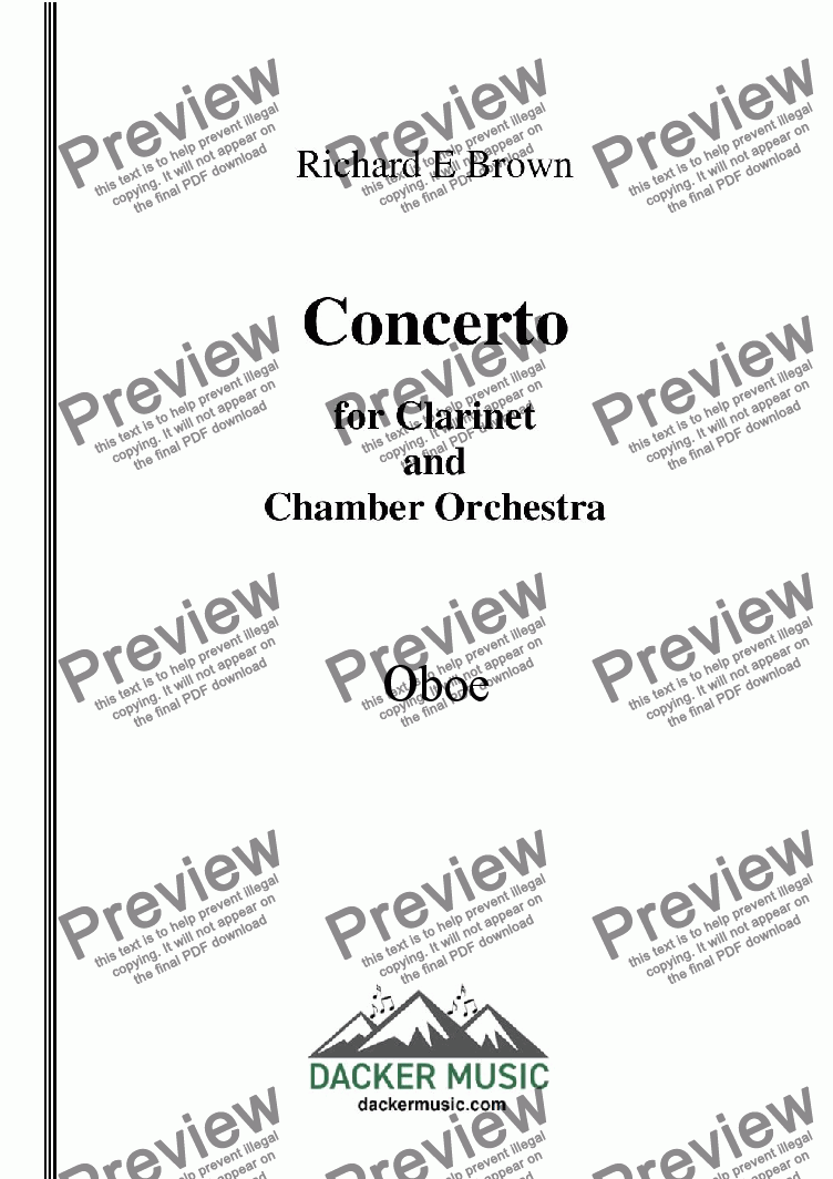 page one of the Oboe part from Concerto for Clarinet  and Chamber Orchestra - Full Score