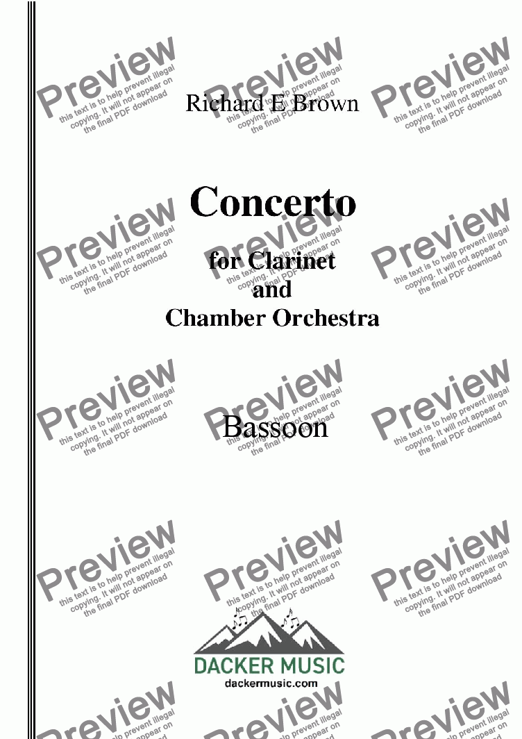page one of the Bassoon part from Concerto for Clarinet  and Chamber Orchestra - Full Score