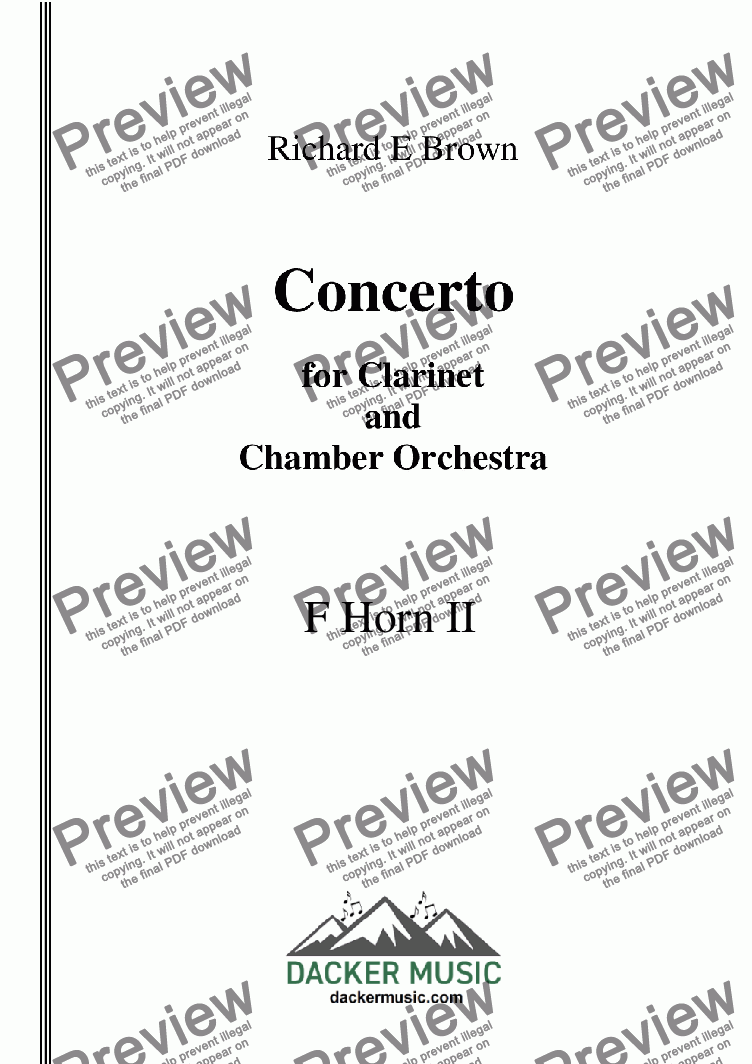 page one of the F Horn 2 part from Concerto for Clarinet  and Chamber Orchestra - Full Score