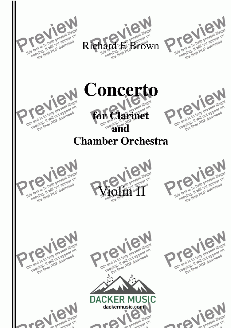 page one of the Violin 2 part from Concerto for Clarinet  and Chamber Orchestra - Full Score