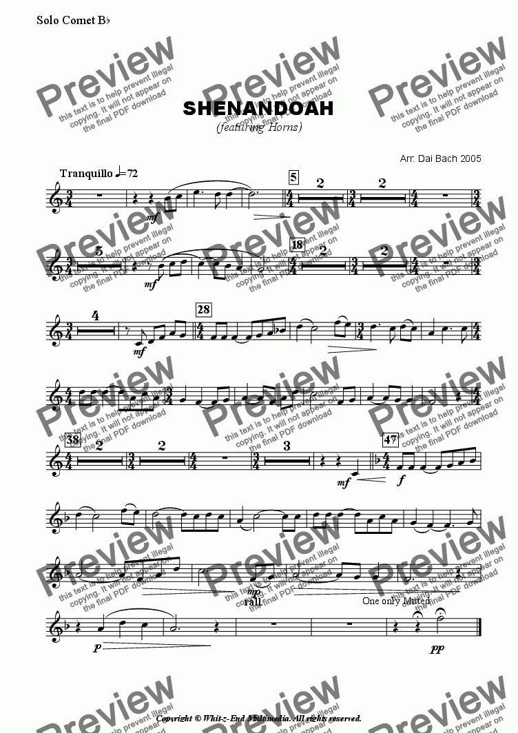 page one of the Solo Cornet part from Shenandoah