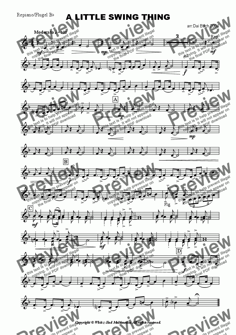 page one of the Repiano part from A Little Swing Thing