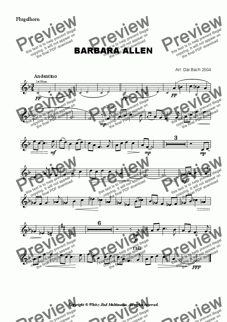 page one of the Flugelhorn part from Barbara Allen