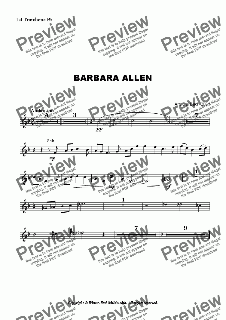 page one of the 1st Trombone part from Barbara Allen