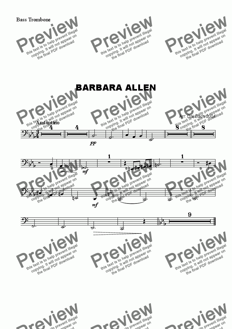 page one of the BassTrombone part from Barbara Allen