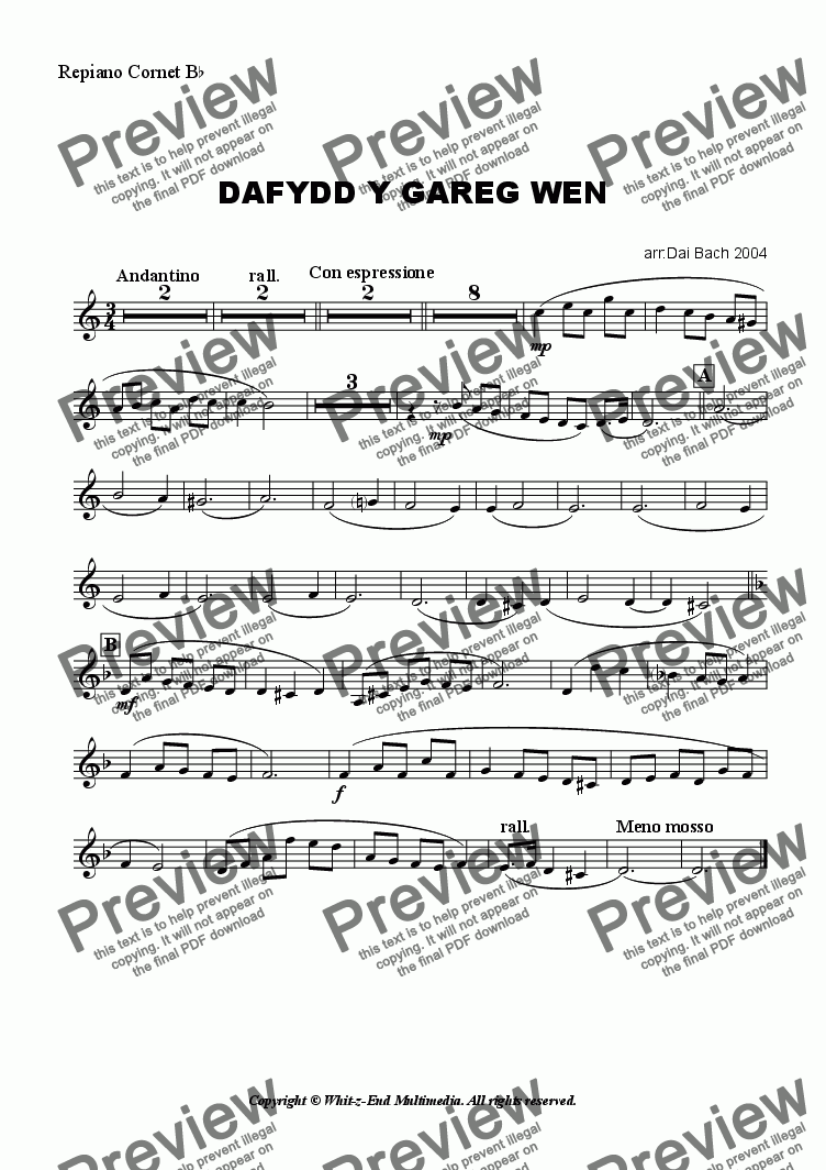 page one of the Repiano part from Dafydd y Gareg Wen