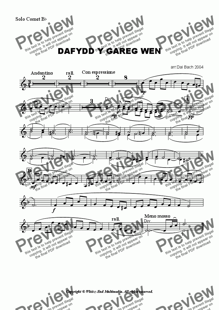 page one of the Solo Cornet part from Dafydd y Gareg Wen