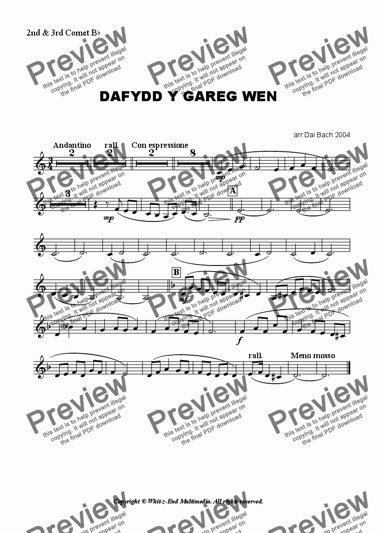 page one of the 2nd Cornet part from Dafydd y Gareg Wen