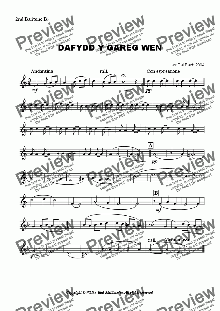 page one of the 2nd Baritone part from Dafydd y Gareg Wen