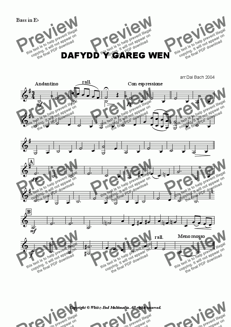page one of the Eb Bass part from Dafydd y Gareg Wen