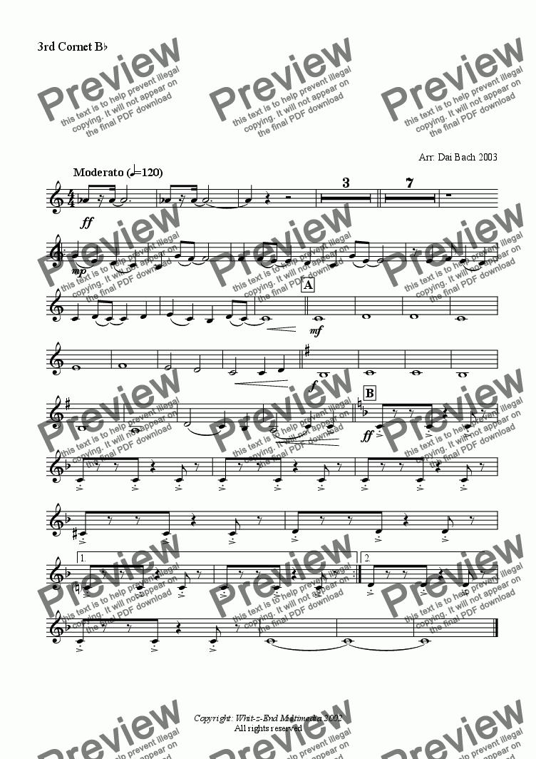 page one of the 3rd Cornet part from Freight Train