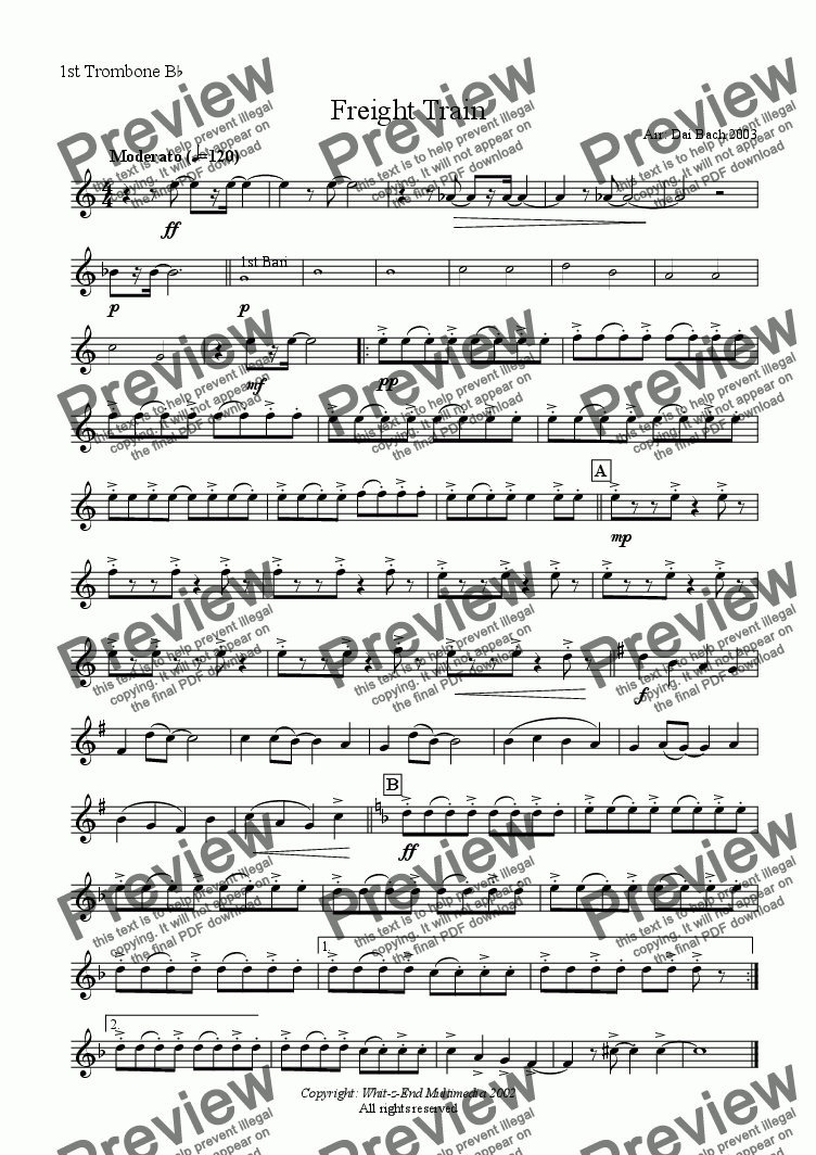 page one of the 1st Trombone part from Freight Train