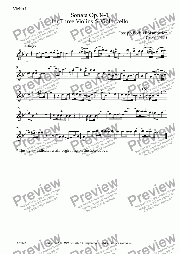 page one of the Violin I part from Sonata Op.34-1 for Three Violins & Violoncello