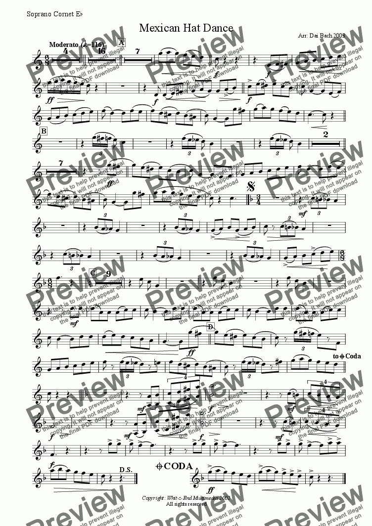 page one of the Soprano part from Mexican Hat Dance