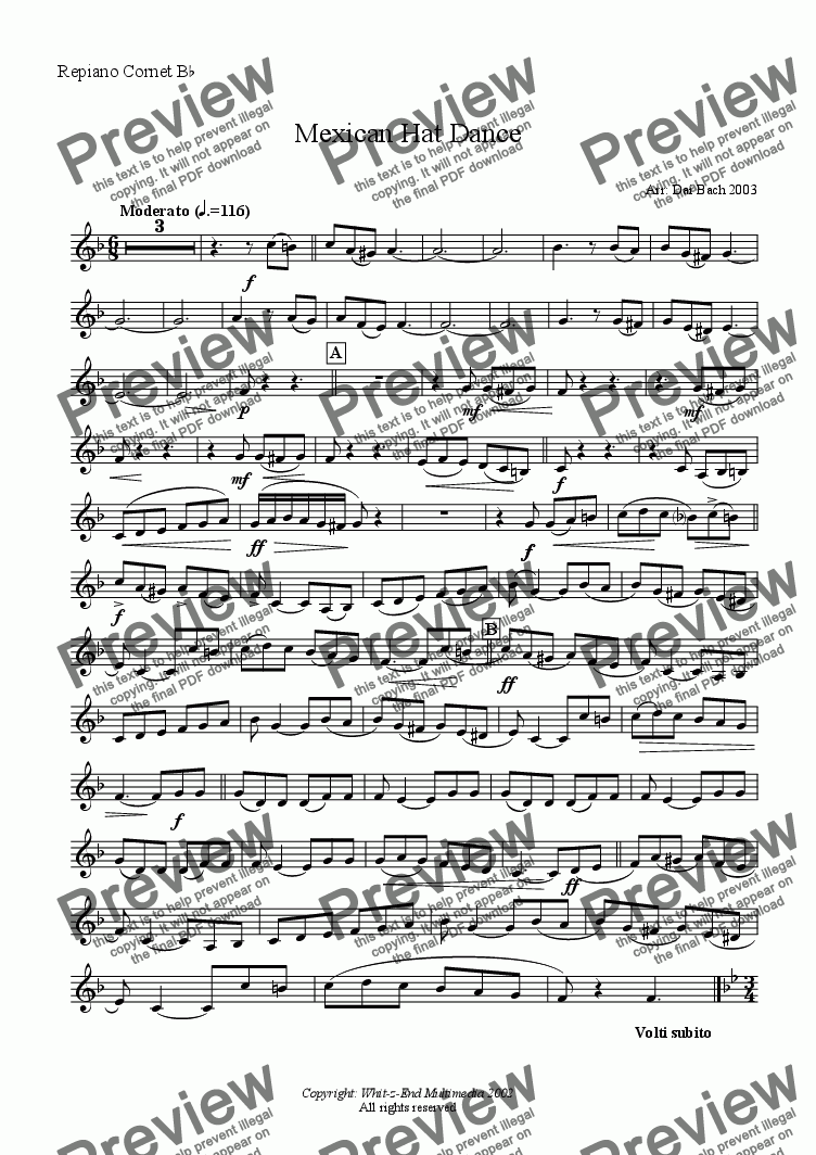 page one of the Repiano part from Mexican Hat Dance
