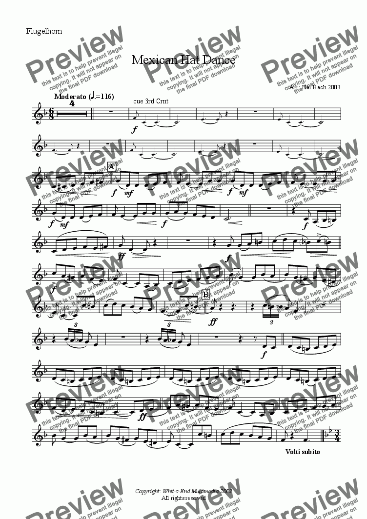 page one of the Flugelhorn part from Mexican Hat Dance