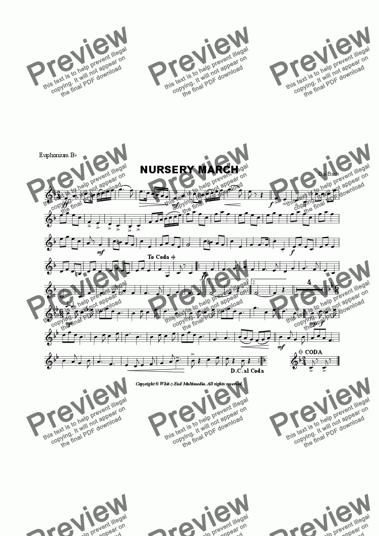 page one of the Euphonium part from Nursery March