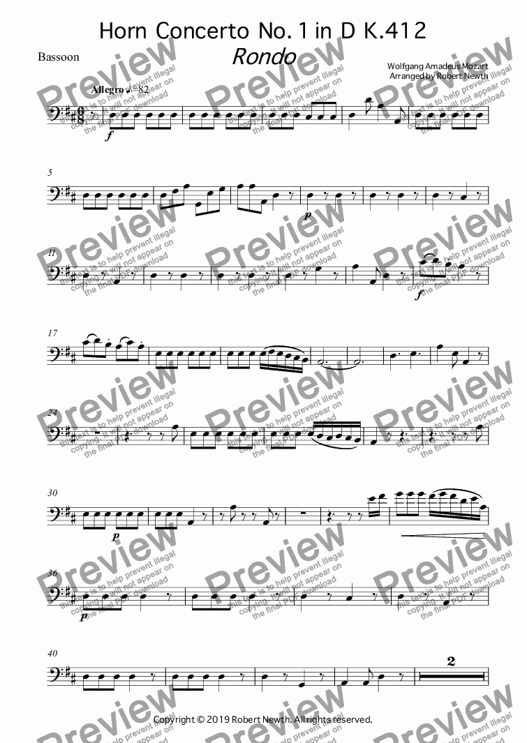 page one of the Bassoon part from Rondo from Horn  Concerto  No. 1 in  D  K.412