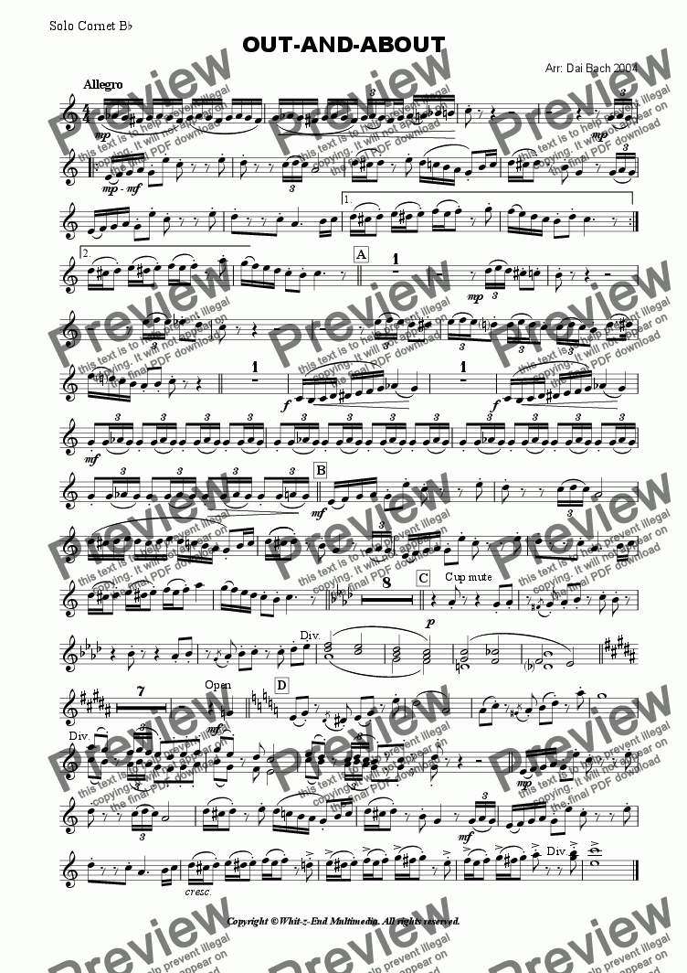 page one of the Solo Cornet part from Out-and-About