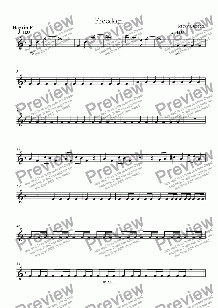 page one of the F Horn part from Freedom